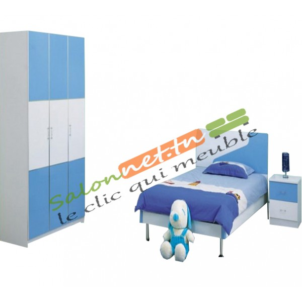 chambre d 39 enfant bleu et blanc. Black Bedroom Furniture Sets. Home Design Ideas