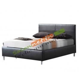 lit et sommier noir deux places. Black Bedroom Furniture Sets. Home Design Ideas