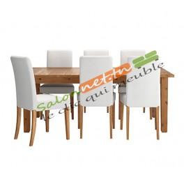 Salle à manger Motif chêne et chaises blanches