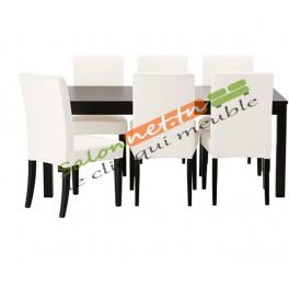 Salle à manger noir et chaises blancs